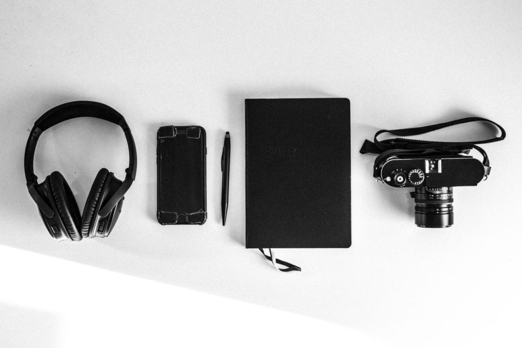 Headphones, iPhone, Pen, Bullet Journal, Leica flatly